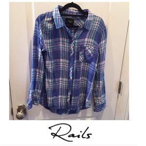 Rails Blue Plaid Button Down Flannel
